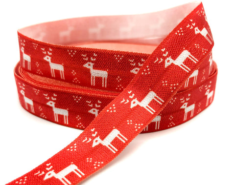 red scandi scandinavian style nordic deer reindeer elastic foe ribbon elastics cute kawaii craft supplies uk 16mm ribbons