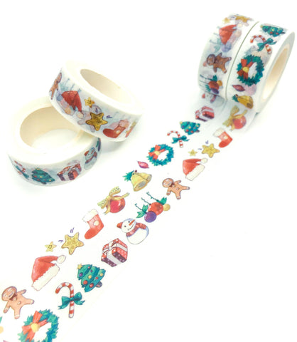 christmas washi tape 10m roll tapes festive gingerbread man presents santa hat stocking uk cute kawaii stationery gift