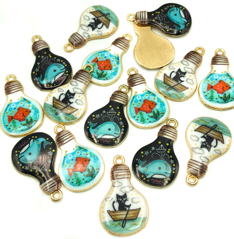 kawaii gold tone lightbulb charm charms metal enamel light bulb cat boat goldfish whale