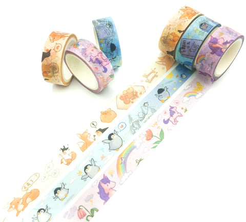 5m animals washi tape cute animal penguin fox foxes penguins unicorn unicorns uk kawaii cute stationery supplies