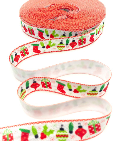 festive red green and white christmas elastic ribbon foe ribbons cute kawaii uk craft supplies bauble holly present stocking fold over elastics