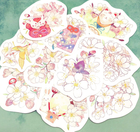 cherry blossom floral flower flowers shaped postcard post card cards cute kawaii uk stationery bundles bundle animal bunny rabbit