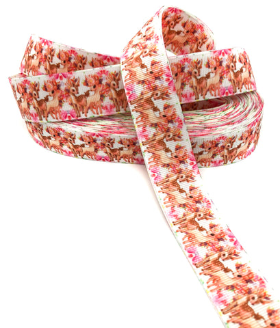 baby deer and pink butterflies 25mm grosgrain ribbon one yard on white