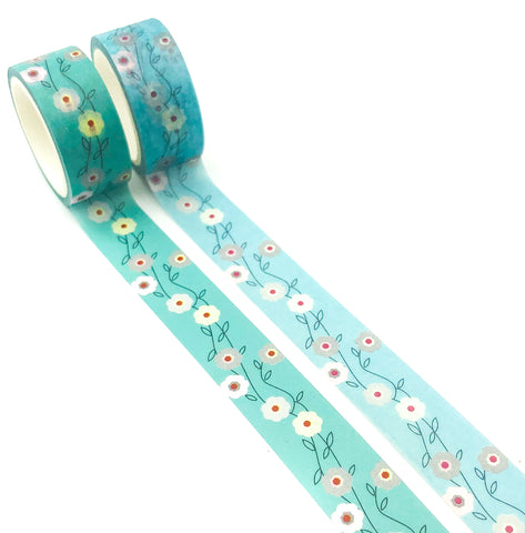 5m turquoise floral flower flowers washi tape tapes pretty blue green uk stationery