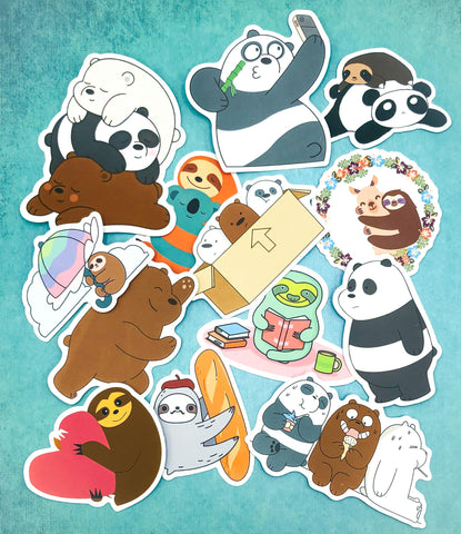 cute waterproof vinyl laptop sticker stickers large pvc plastic animals panda sloth sloths bear bears bundle uk kawaii stationery gifts