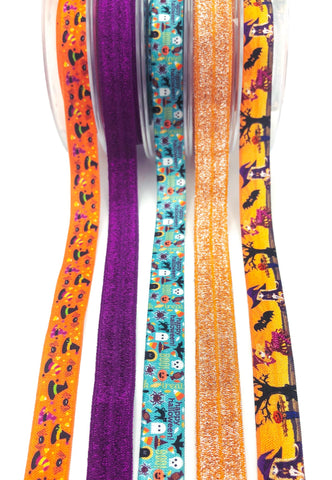 spooky halloween elastic ribbons ribbon foe elastics orange purple glitter uk craft supplies witch witches