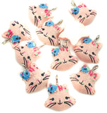 pink glitter cat cats resin kawaii charms ab iridescent charm