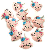 pink glitter cat resin charm kawaii cats charms