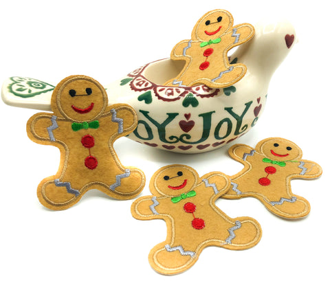 gingerbread man men iron on applique christmas patch 72mm patches