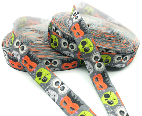 spooky halloween elastic ribbon yard skulls owls dark grey monster foe