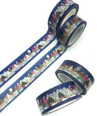 winter wintry town village 5m 10m christmas festive washi tape roll