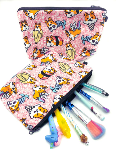 cute pink corgi bag zip pencil case cosmetic pouch uk kawaii gift gifts mermaid ice cream banana fun corgis dogs