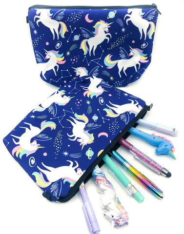 unicorn large roomy cosmetic bag pencil case pouch fabric dark blue navy pastel unicorns uk kawaii cute gift gifts stocking fillers galaxy