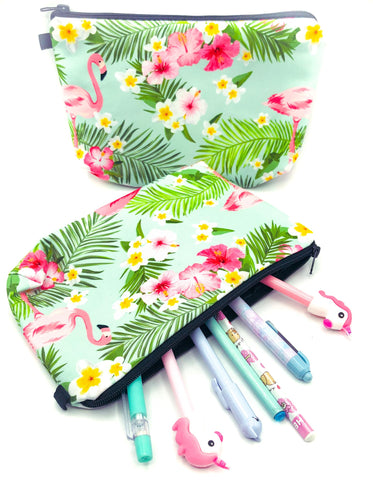 Tropical flamingo flamingos pink and mint green turquoise cosmetic bag bags pencil case uk kawaii cute gift gifts floral flowers cases pouch