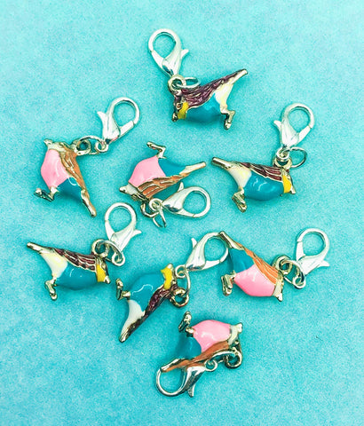 little enamel bird silver tone metal planner charm clip cute kawaii planning accessories uk pretty pink turquoise birds
