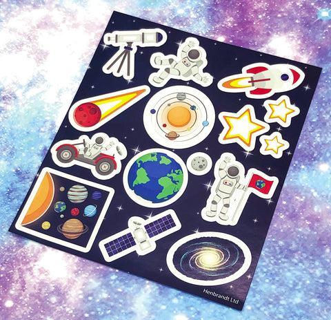 kids sticker sheet of space stickers planets stars galaxy fun kid gift gifts uk stationery rocket moon astronaut spaceman