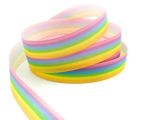 pastel rainbow stripe striped grosgrain ribbon ribbons uk craft supplies pale pretty rainbows stripes 17mm