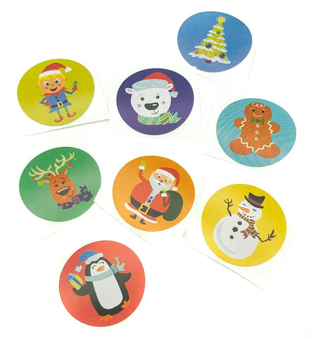 Christmas Round Stickers 25mm Set of 8