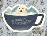cute baby seal in blue mug cute teacup postcard post card cards uk kawaii stationery store pretty animal animals