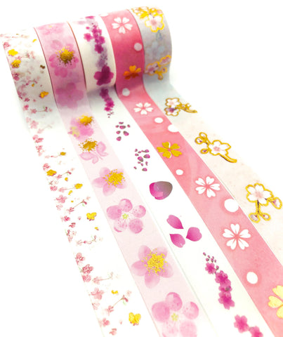 pink cherry blossom blossoms floral flower flowers washi tape tapes 5m cute kawaii stationery uk gold foil foiled