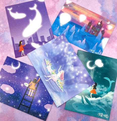 dreamscape glow in the dark luminous magic magical postcard postcards uk cute kawaii post card cards whale whales ocean sky stars purple turquoise blue dream fantasy