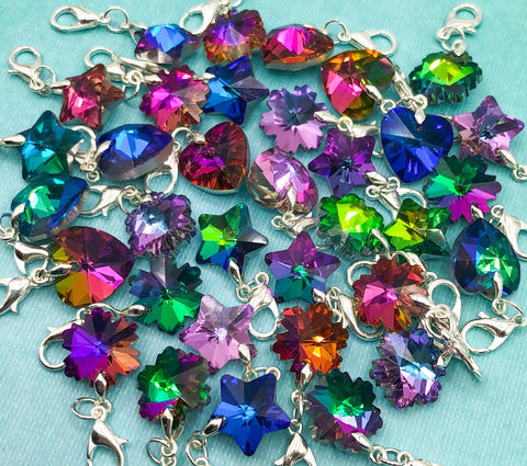 glass heart snowflake star planner charm charms clip clips rainbow coloured uk kawaii cute planning accessories silver tone colourful uk gift gifts