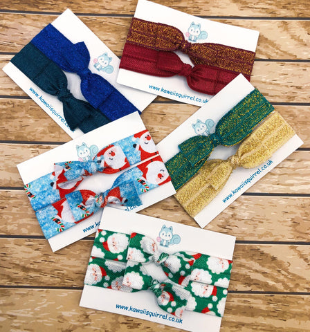 handmade hair ties elastic tie bow bows packs gift gifts uk cute kawaii kids presents stocking fillers