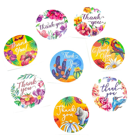 summer tropical themed thank you round 25mm sticker stickers seals animals plants floral flowers cacti hippo parrot jungle uk cute stationery packaging supplies