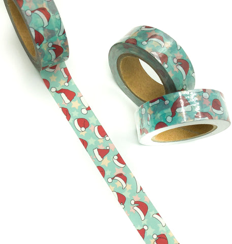 santa hats on turquoise 10m washi tape roll