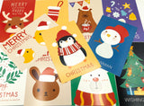 bold festive post card cards postcard postcard bundle christmas uk cute kawaii stationery gift gifts rabbit bear santa