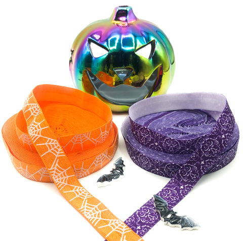 orange purple elastic halloween ribbons spiders web ornate skull skulls foe