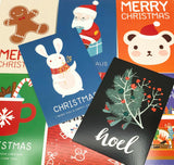 bold festive post card cards postcard postcard bundle christmas uk cute kawaii stationery gift gifts rabbit bear santa bright designs