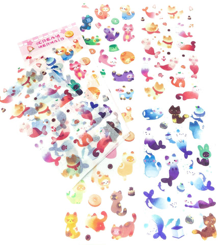 cat mermaid purrmaid kawaii matte sticker pack of 4 sheets cute cats uk stationery translucent tracing paper large sheets stickers