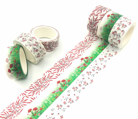 leaf leaves flower flowers floral 5m washi tape tapes rolls uk cute stationery store red green poppy poppies
