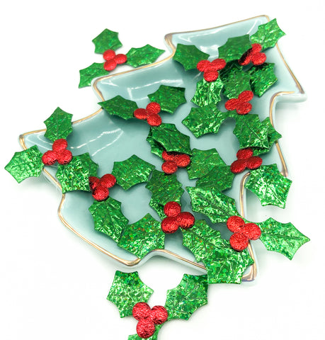 metallic holly appliques red and green glittery applique festive patch