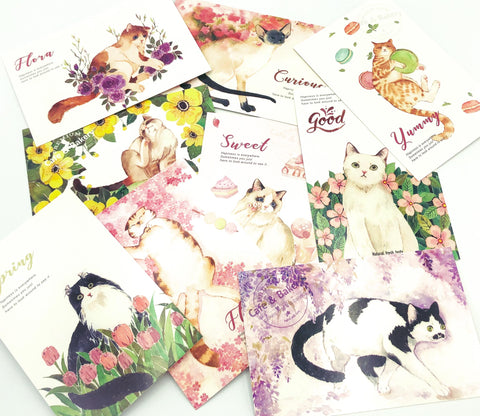 cat postcard postcards post card cards cute sweet kawaii stationery uk floral flower flowers
