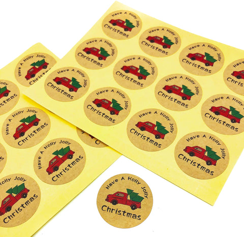 have a jolly holly christmas round festive kraft brown stickers 35mm truck and tree uk cute packaging sticker