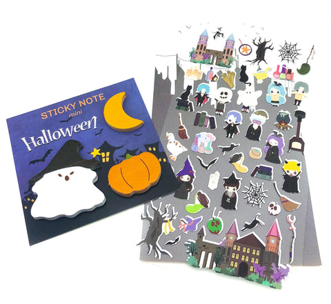 halloween sticker pack stickers sticky memo cute spooky uk stationery kawaii ghost monsters planner supplies pumpkin moon witch planner addict