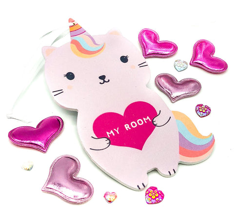 lunar caticorn cat unicorn unicat hanging door sign plaque sass & belle uk gift store cute gifts girls