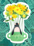 cute penguin and yellow sunflowers in mug cute teacup postcard post card cards uk kawaii stationery store pretty animal animals