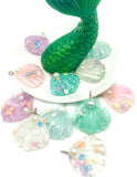 mermaid shell with pearl seashell shells charm charms resin glitter