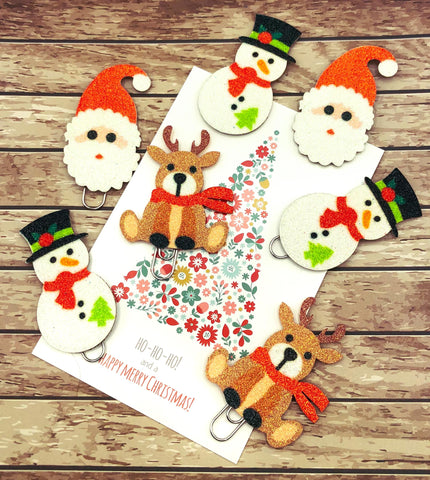 christmas planner charm clip clips glitter snowman snowmen santa claus father rudolph reindeer deer cute kawaii planner supplies gift gifts uk