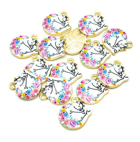floral cat sleeping white cats gold tone charm uk cute charms kawaii craft supplies kitties