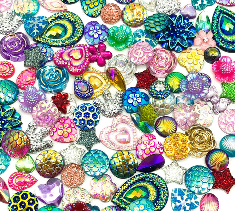 resin acrylic fb flat back bundle of 25 fbs sparkly ab iridescent small