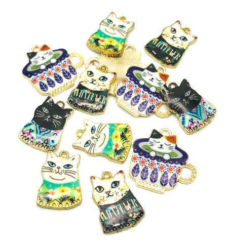 kawaii cat gold tone charm teacup jumper cute charms uk cats enamel craft supplies
