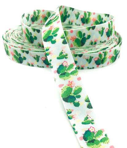 Cacti Cactus Plants & Pink Flowers Grosgrain Ribbon 22mm