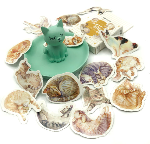 comfy cat cats mini sticker flakes box of 45 stickers relaxing