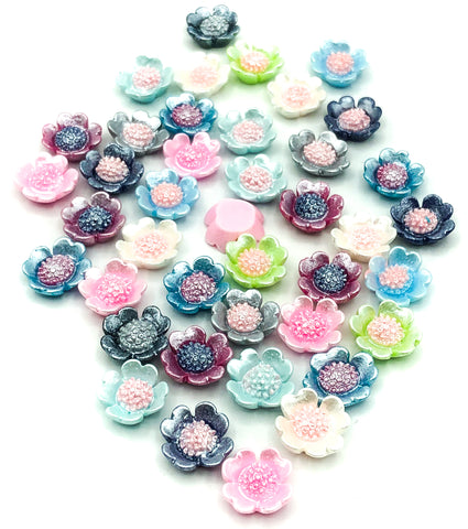 12mm pearl pearly flower fb flat backs poppy poppies flowers