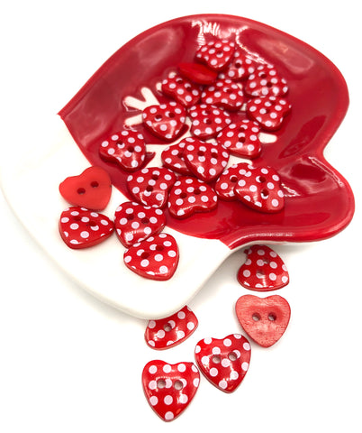 red heart button hearts buttons polka dot dots cute acrylic resin