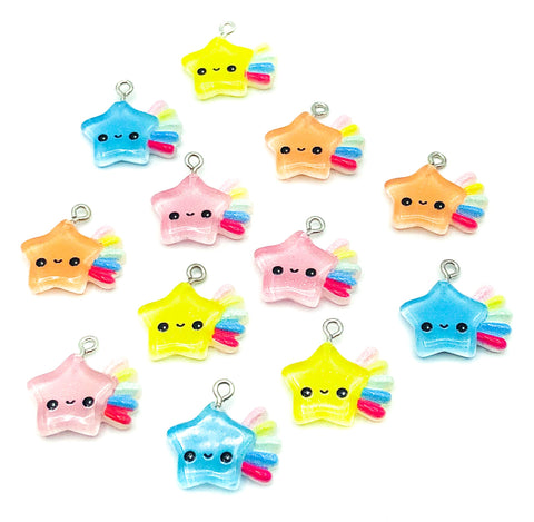 resin star charm stars charms shooting rainbow cute kawaii happy smiling craft supplies little uk